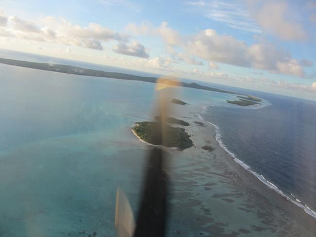 Anflug auf die Cook-Insel Aitutaki